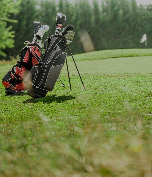 Två golfväskor på en golfbana.
